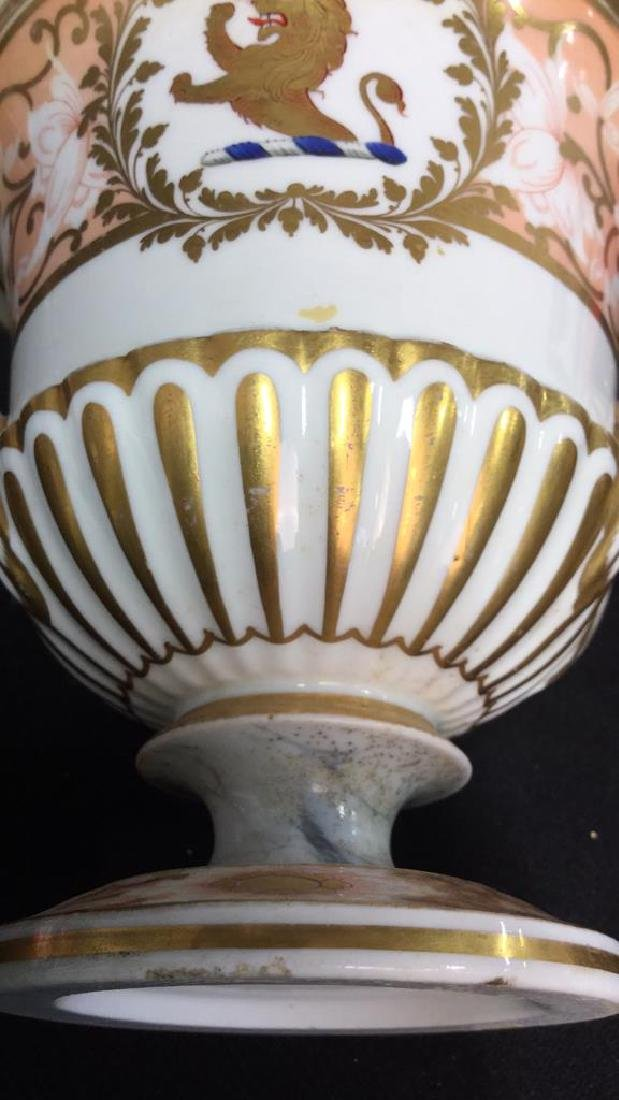 Antique Painted Porcelain Urn W Lion - 9