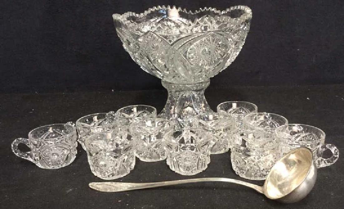 2 Pc Cut Glass Punch Bowl Set 11 Cups SP Ladle
