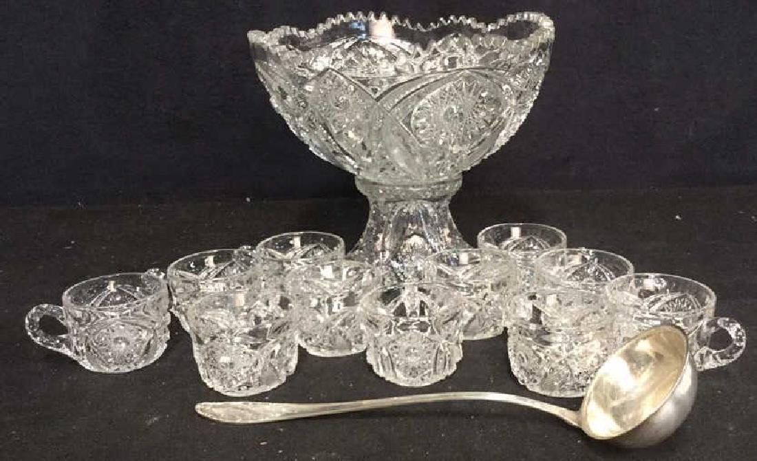 2 Pc Cut Glass Punch Bowl Set 11 Cups SP Ladle