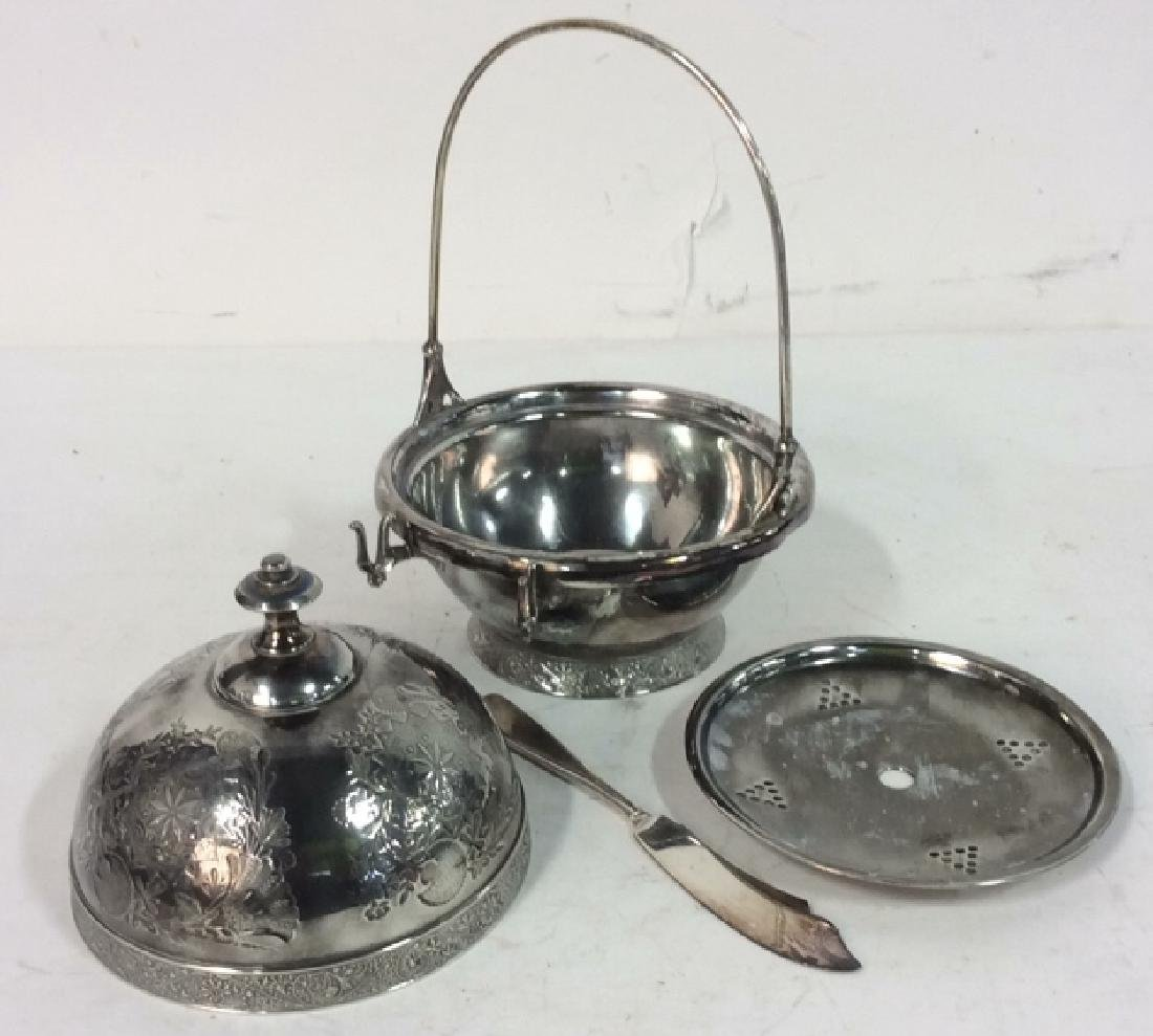 Silver Plate Victorian Style Butter Dish W Knife - 10