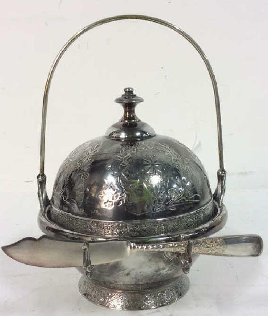Silver Plate Victorian Style Butter Dish W Knife
