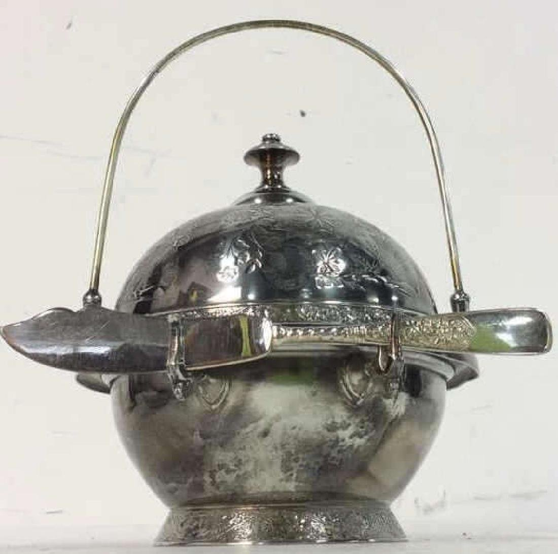 Silver Plate Victorian Style Butter Dish W Knife - 2