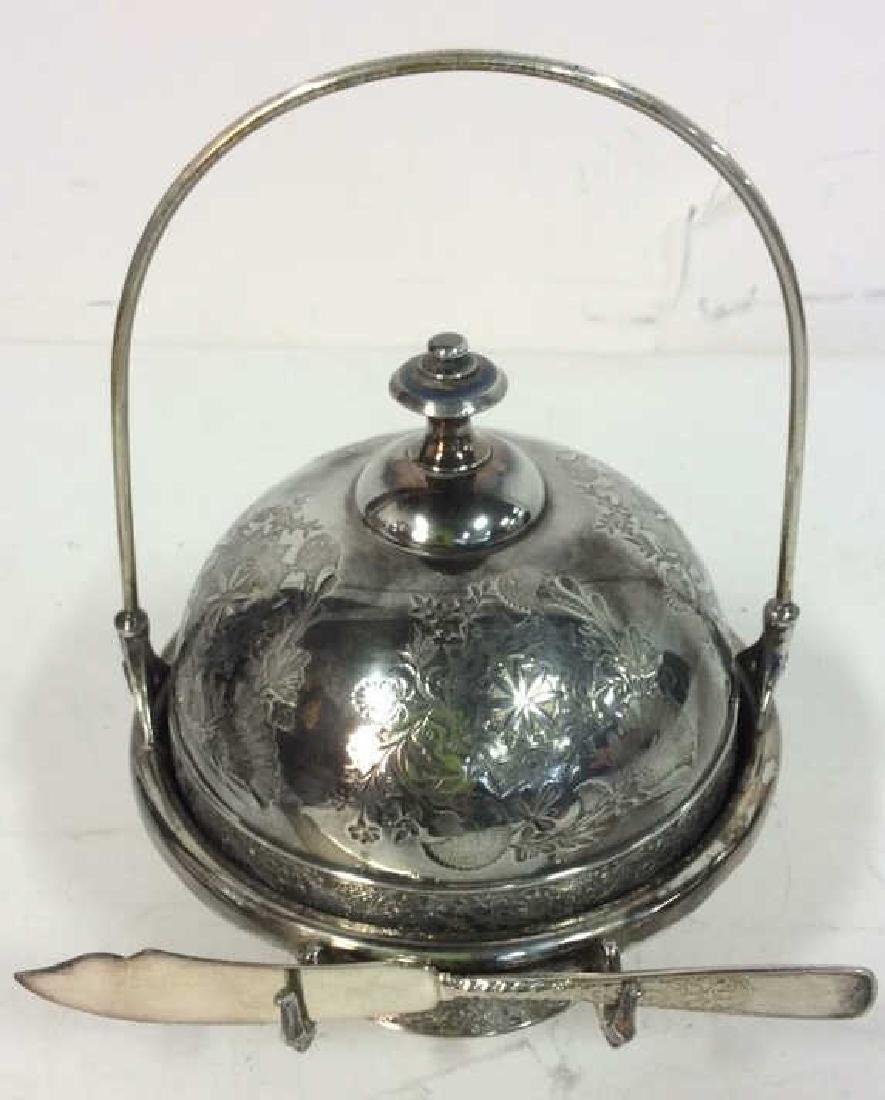 Silver Plate Victorian Style Butter Dish W Knife - 3