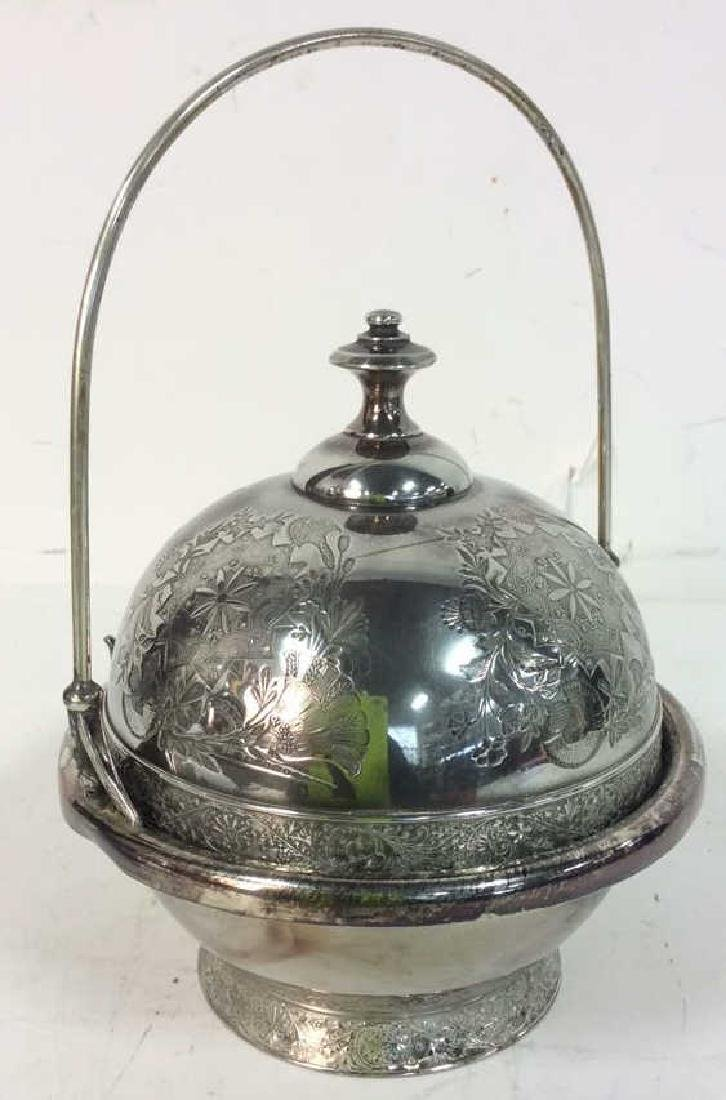 Silver Plate Victorian Style Butter Dish W Knife - 4