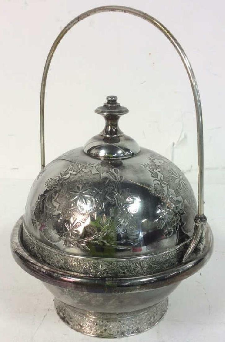 Silver Plate Victorian Style Butter Dish W Knife - 5