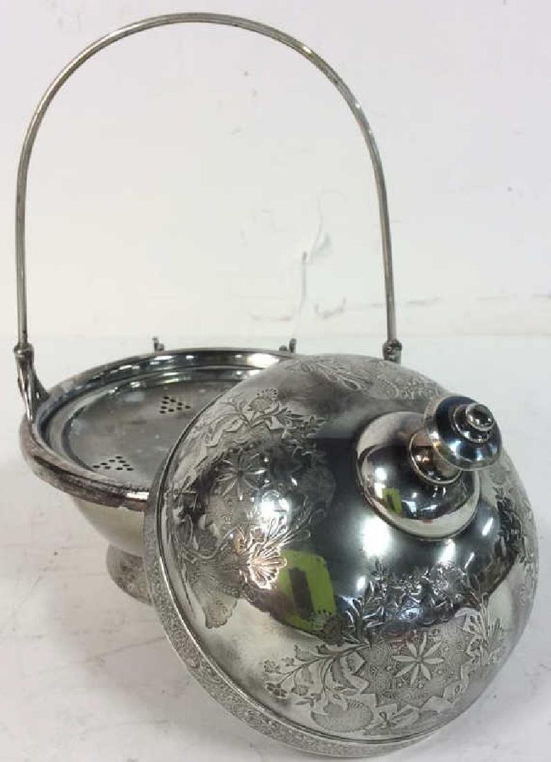 Silver Plate Victorian Style Butter Dish W Knife - 7