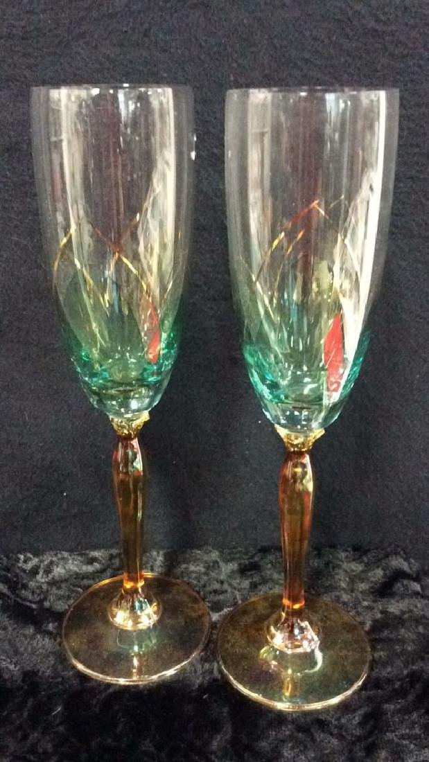Set 6 Painted Colored Crystal Stemware - 6