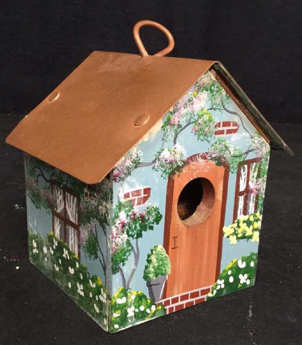 Hand Painted Bird House Copper Roof