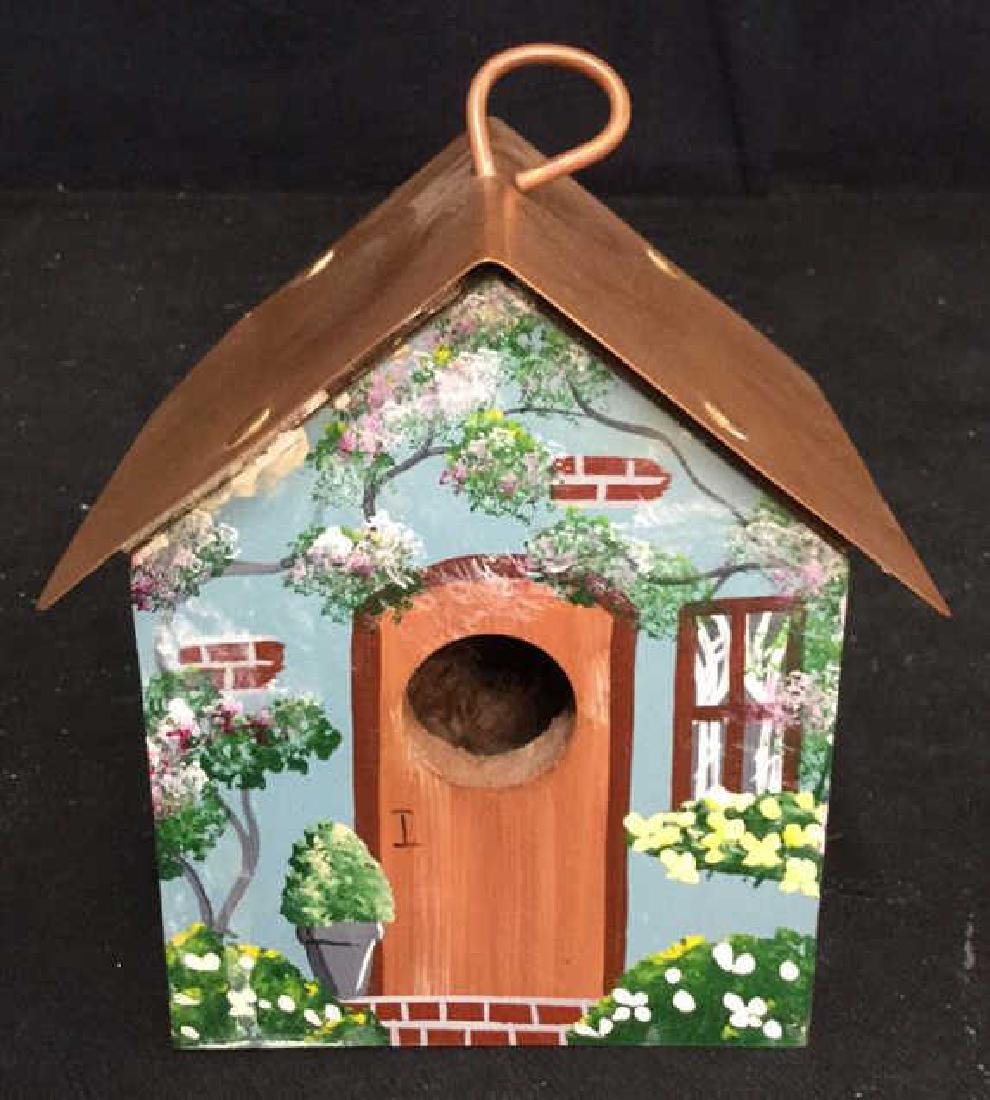 Hand Painted Bird House Copper Roof - 2