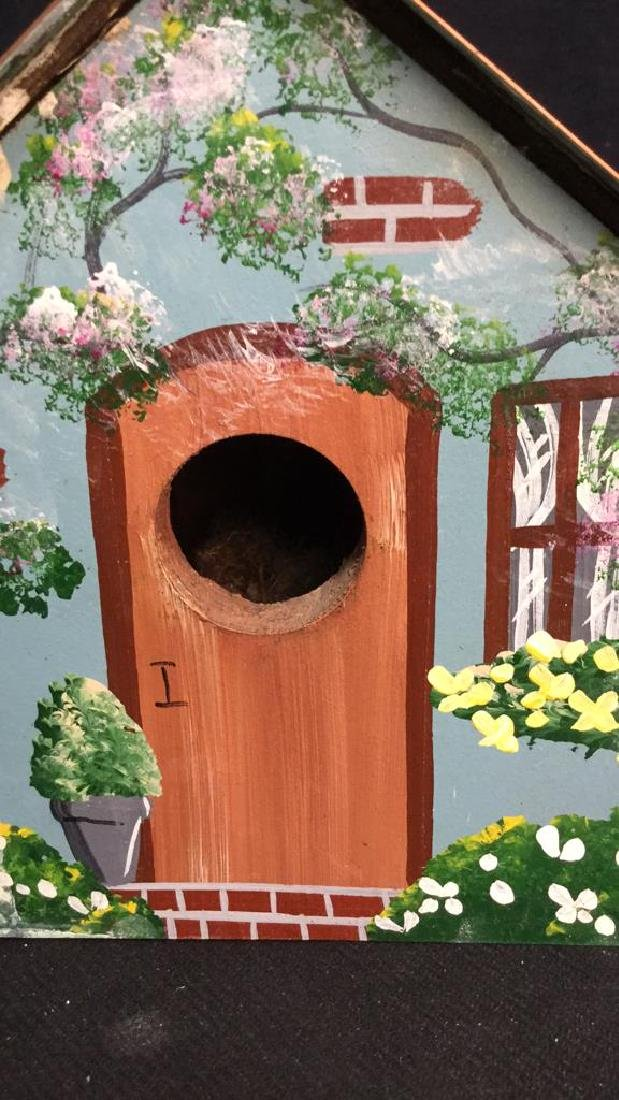 Hand Painted Bird House Copper Roof - 7