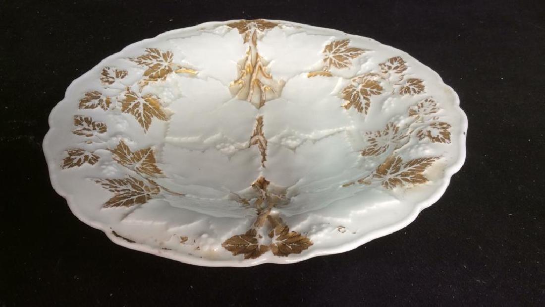 Meissen White Gold Textured Porcelain Plare