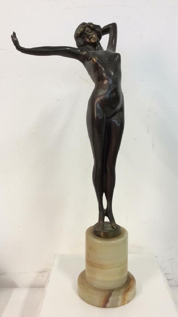 Art Deco Bronze Patina Metal Nude Figure