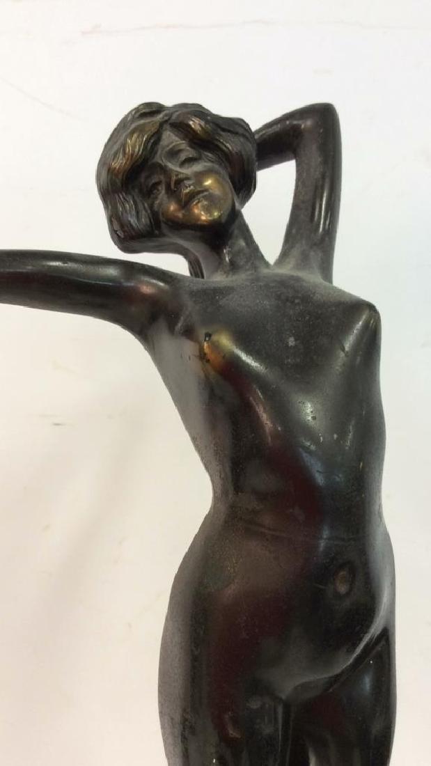 Art Deco Bronze Patina Metal Nude Figure - 2