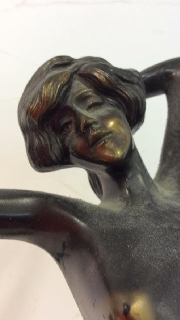 Art Deco Bronze Patina Metal Nude Figure - 3