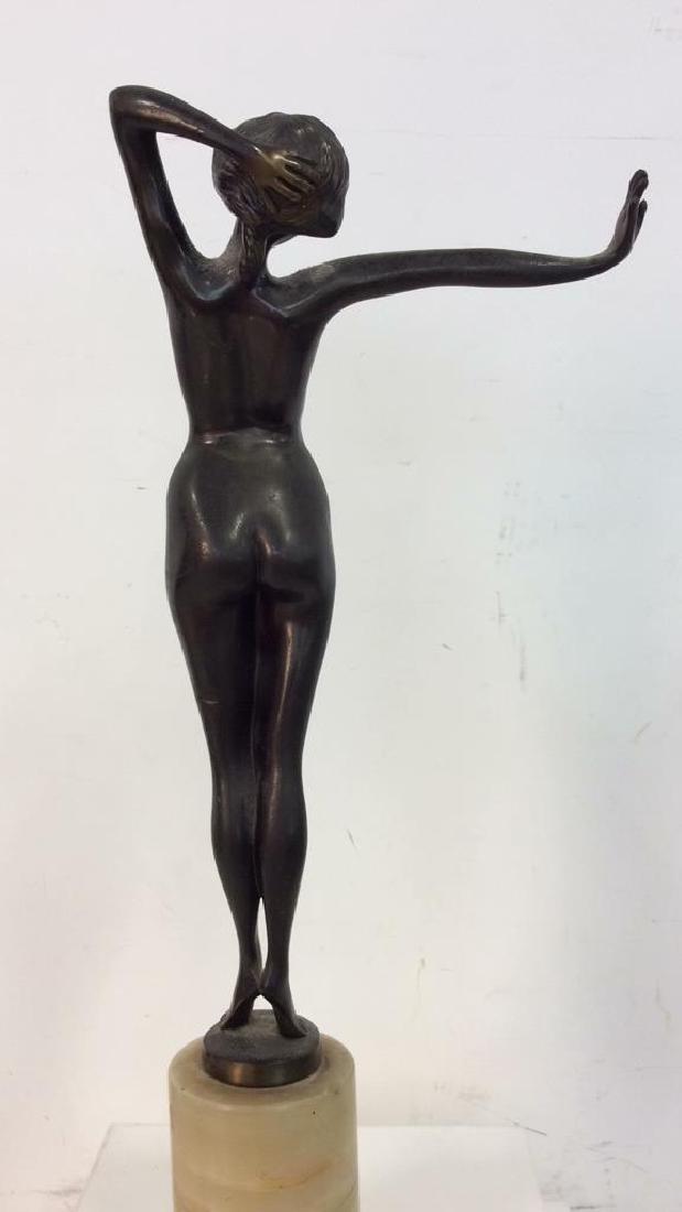 Art Deco Bronze Patina Metal Nude Figure - 5