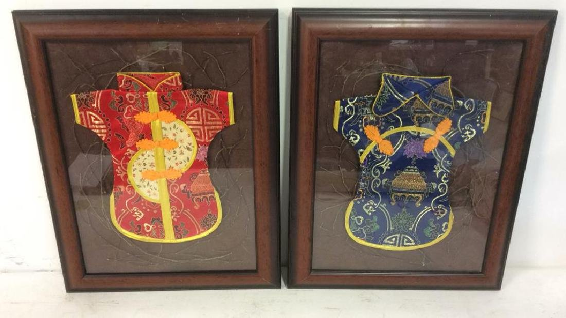 Lot 2 Framed Oriental Silk  Baby Robes