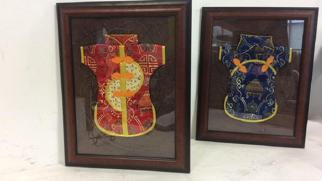 Lot 2 Framed Oriental Silk  Baby Robes - 8