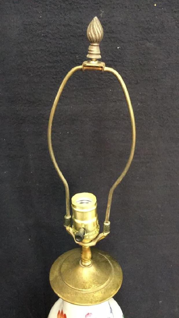 Antique Chinese Famille Rose Lamp W Brass - 10