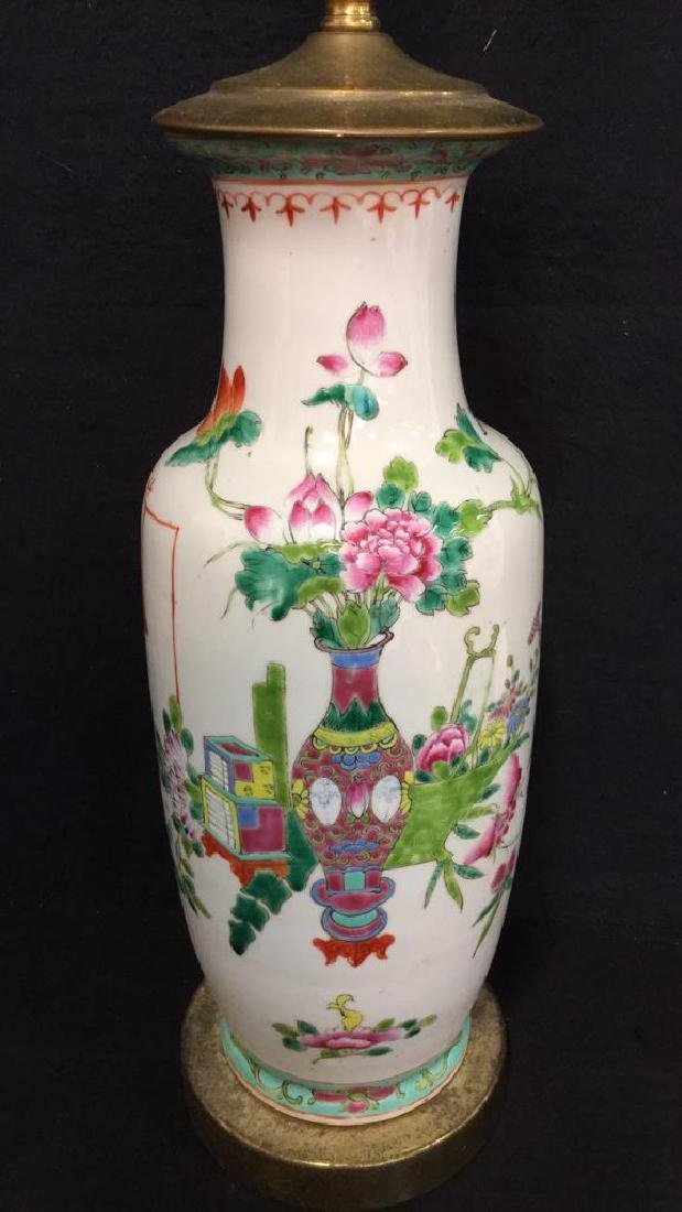 Antique Chinese Famille Rose Lamp W Brass