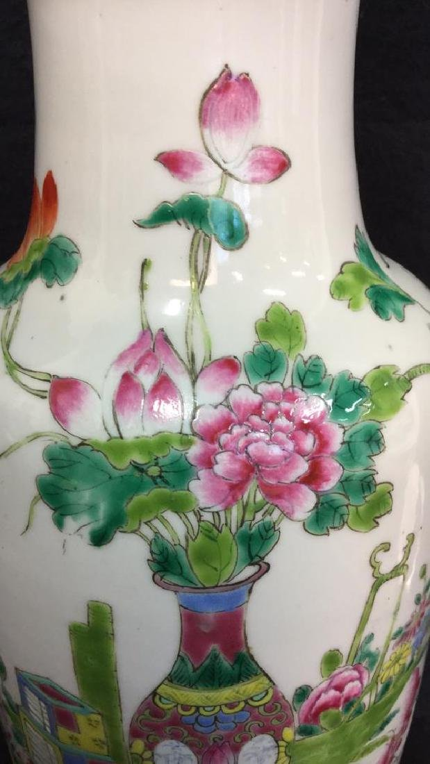 Antique Chinese Famille Rose Lamp W Brass - 2