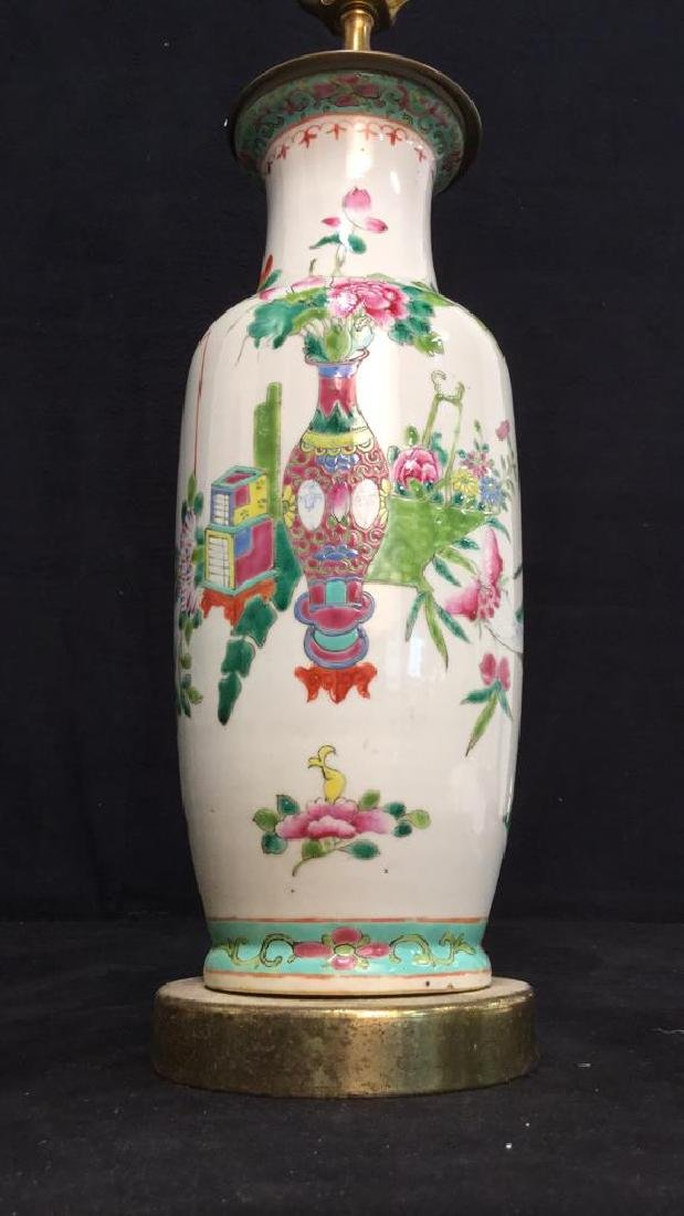 Antique Chinese Famille Rose Lamp W Brass - 6