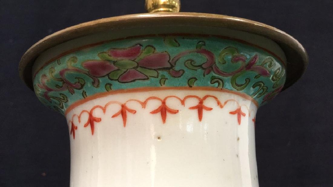 Antique Chinese Famille Rose Lamp W Brass - 7