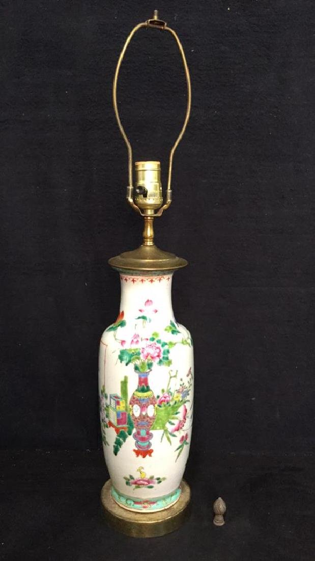 Antique Chinese Famille Rose Lamp W Brass - 9