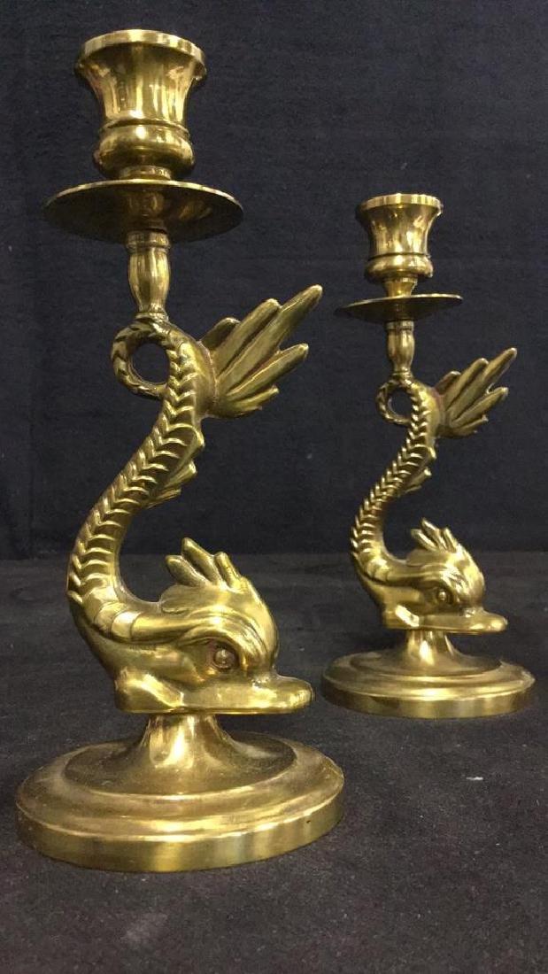 Pair Of Vintage Brass Sea Serpent Candlesticks - 10