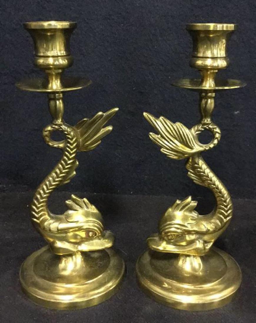 Pair Of Vintage Brass Sea Serpent Candlesticks
