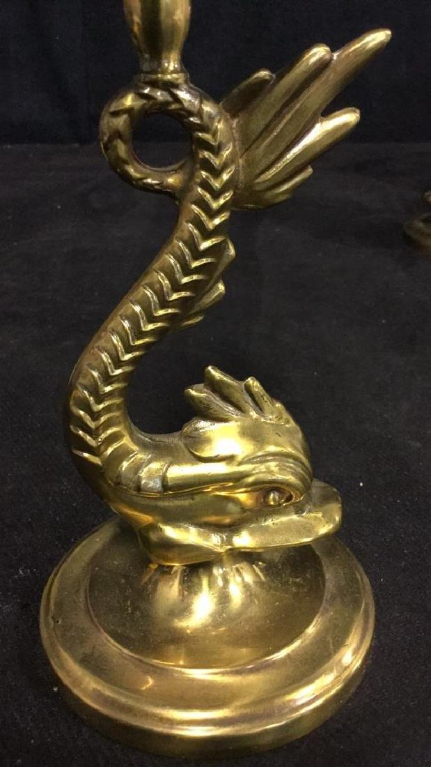 Pair Of Vintage Brass Sea Serpent Candlesticks - 3