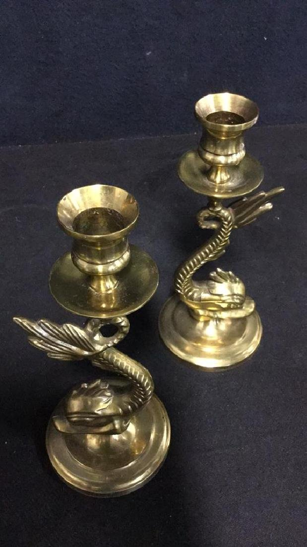 Pair Of Vintage Brass Sea Serpent Candlesticks - 6