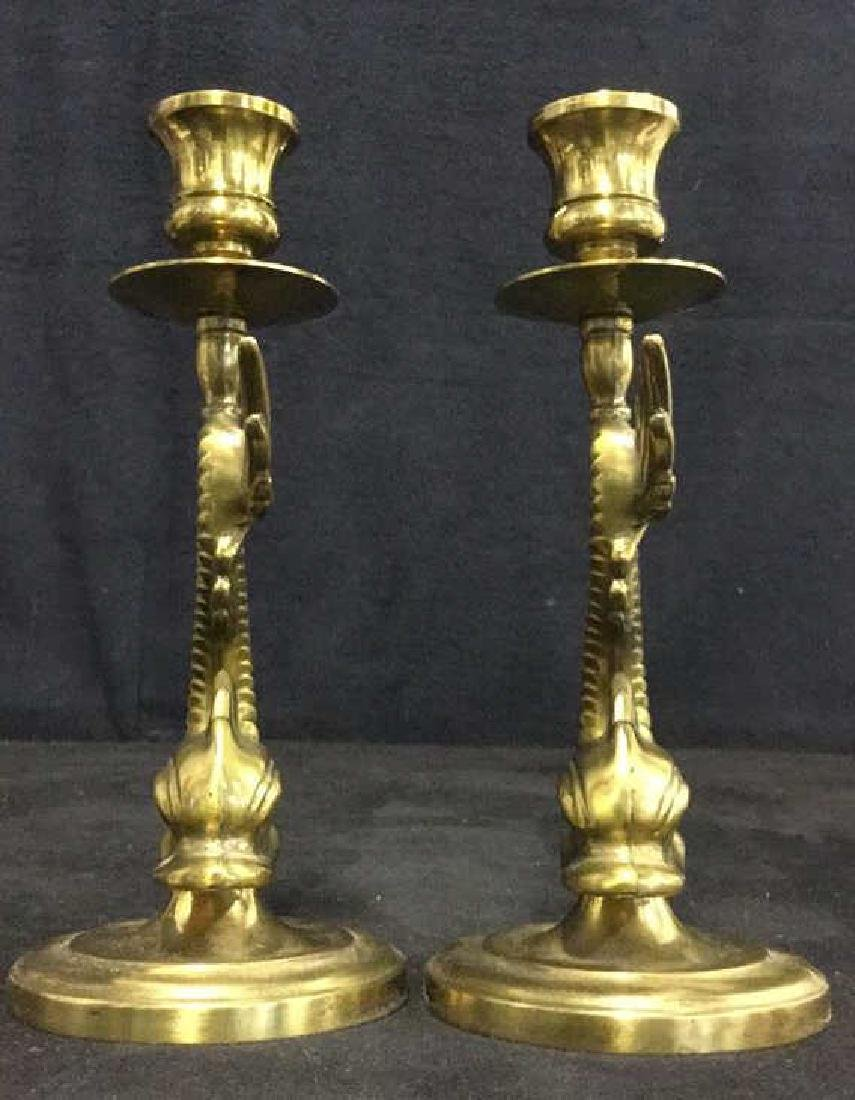 Pair Of Vintage Brass Sea Serpent Candlesticks - 7