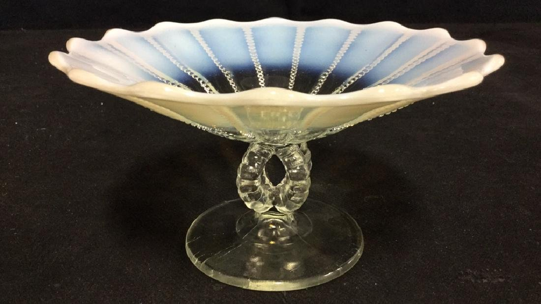 Vintage Opalescent Vaseline Glass Pedestal Dish