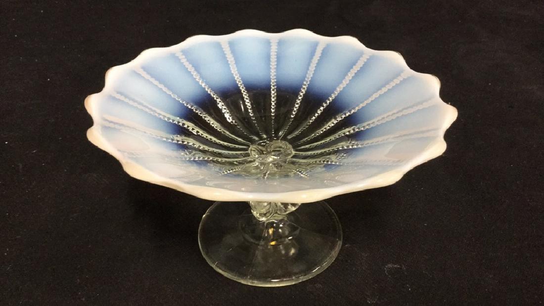 Vintage Opalescent Vaseline Glass Pedestal Dish - 3