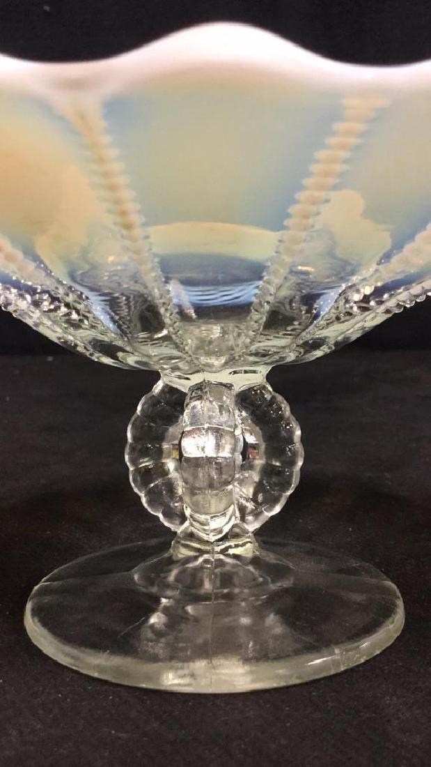 Vintage Opalescent Vaseline Glass Pedestal Dish - 5