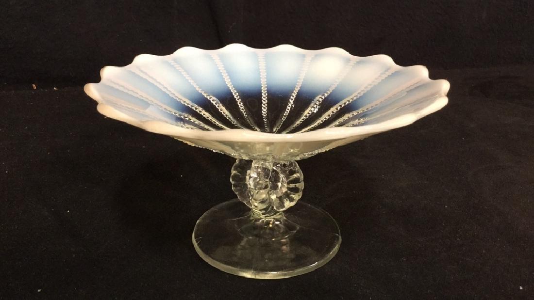 Vintage Opalescent Vaseline Glass Pedestal Dish - 7