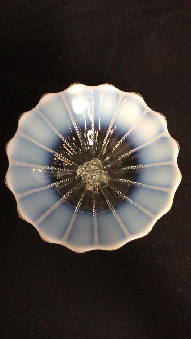 Vintage Opalescent Vaseline Glass Pedestal Dish - 8