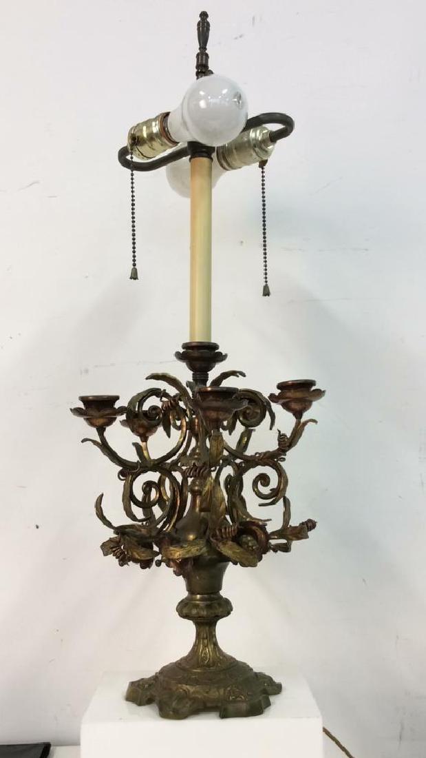 Bronze&Brass Scroll Metal Candelabra Form Lamp - 2