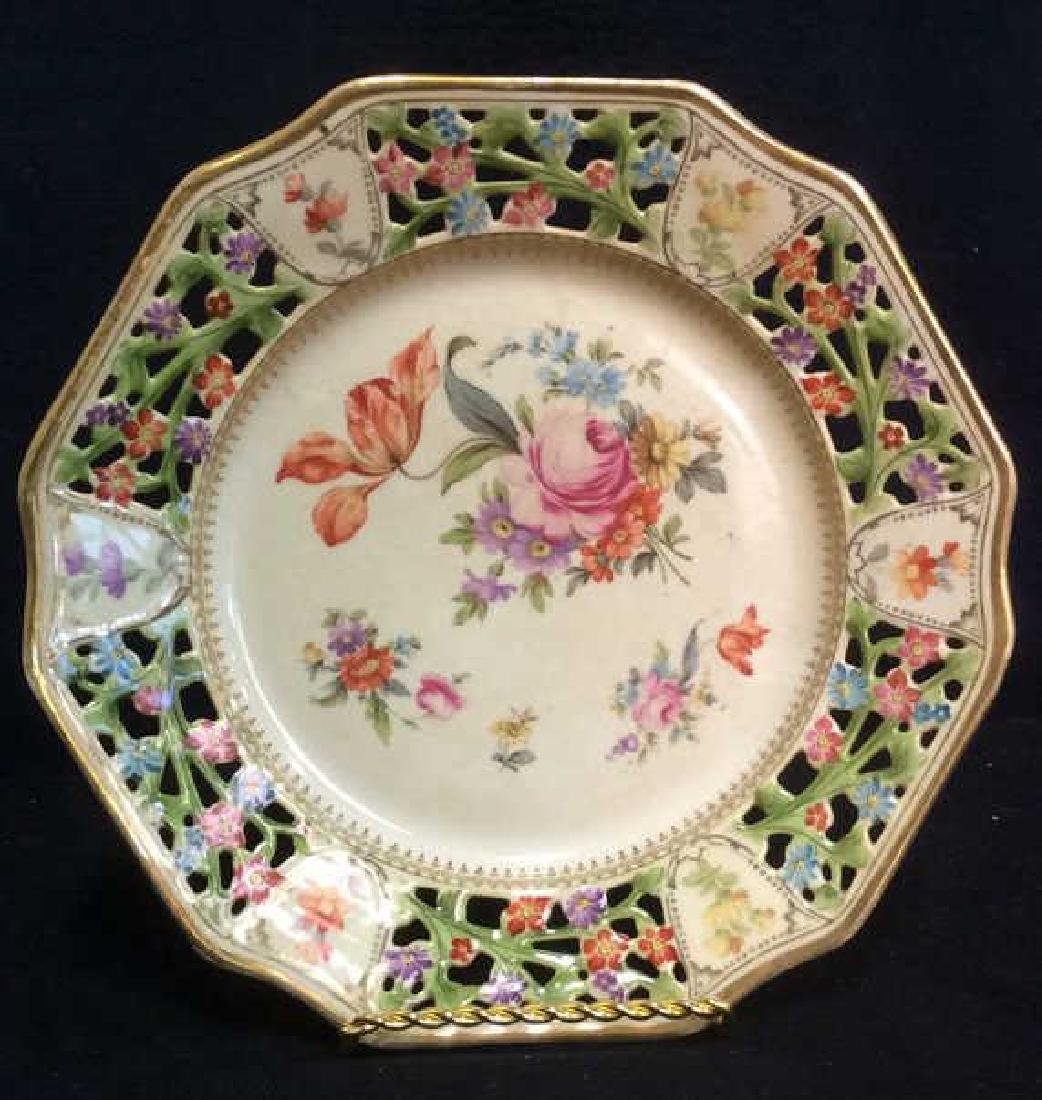 BAVARIA Pierced Porcelain Floral Detailed Plate