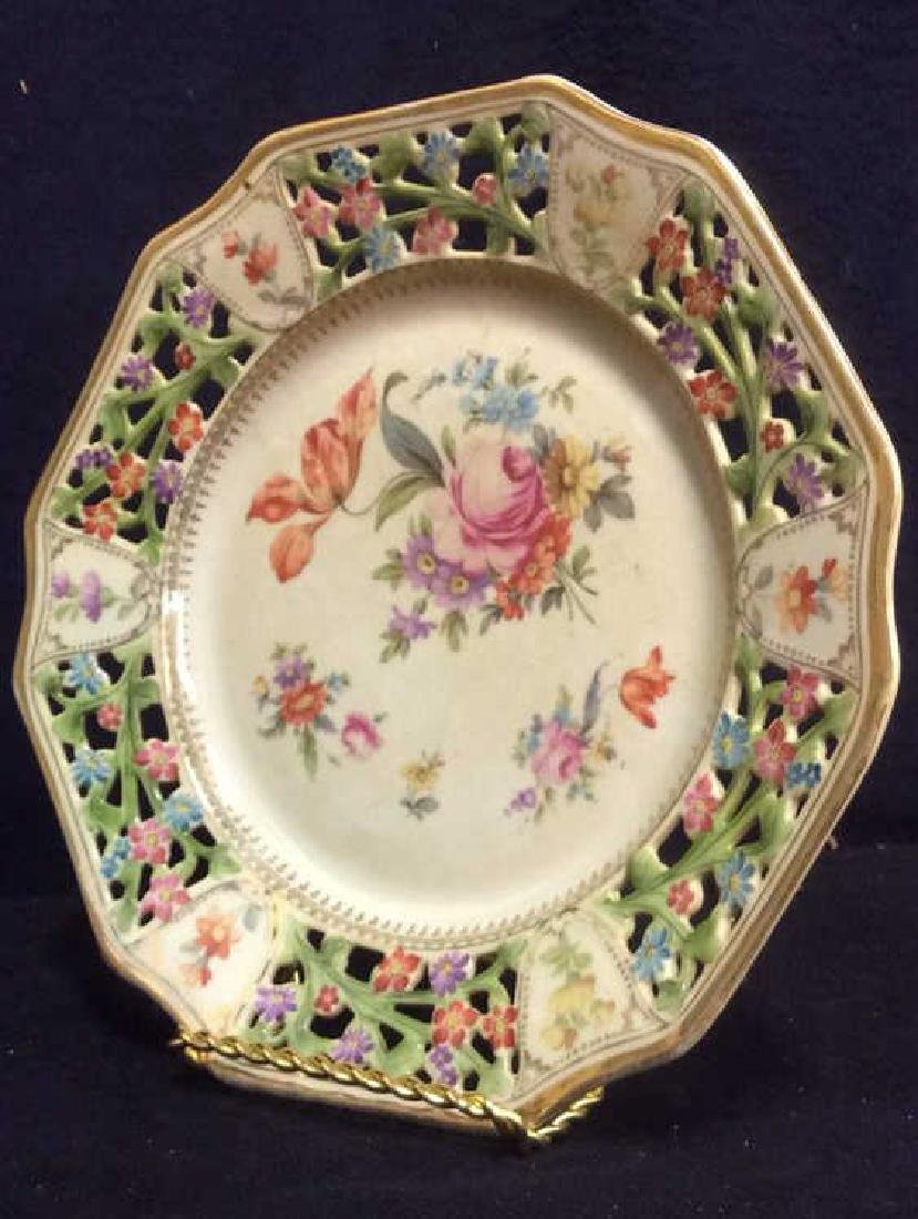 BAVARIA Pierced Porcelain Floral Detailed Plate - 3