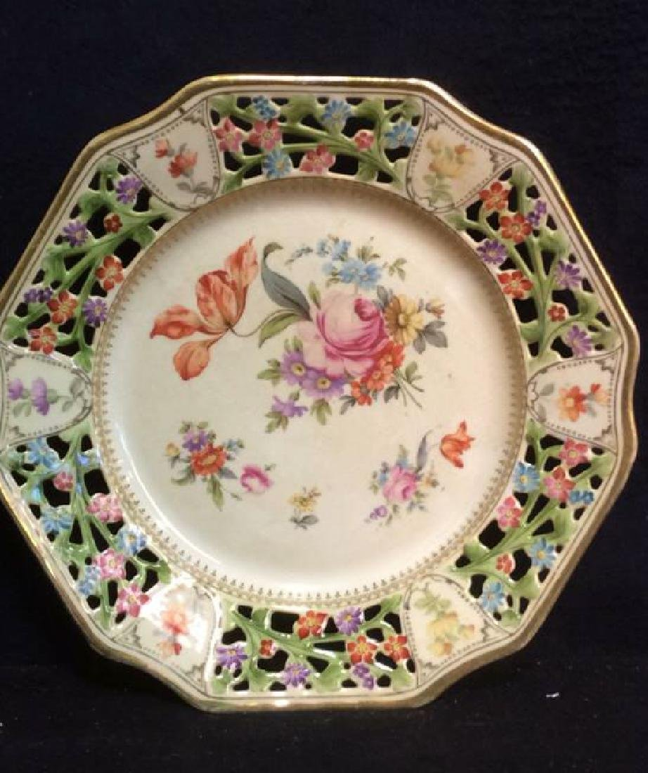 BAVARIA Pierced Porcelain Floral Detailed Plate - 5
