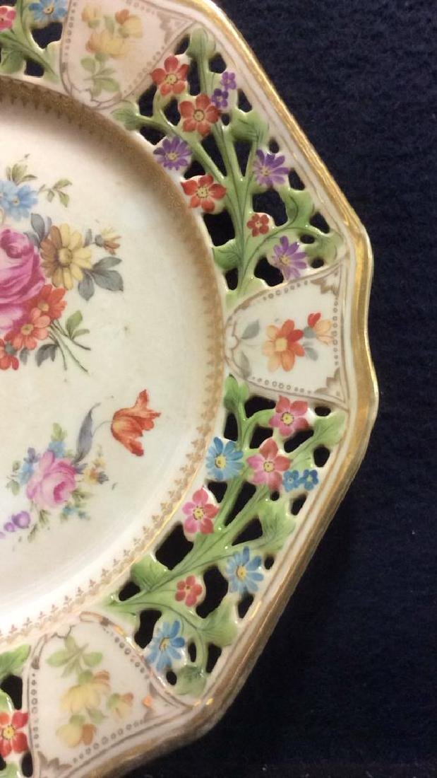 BAVARIA Pierced Porcelain Floral Detailed Plate - 6