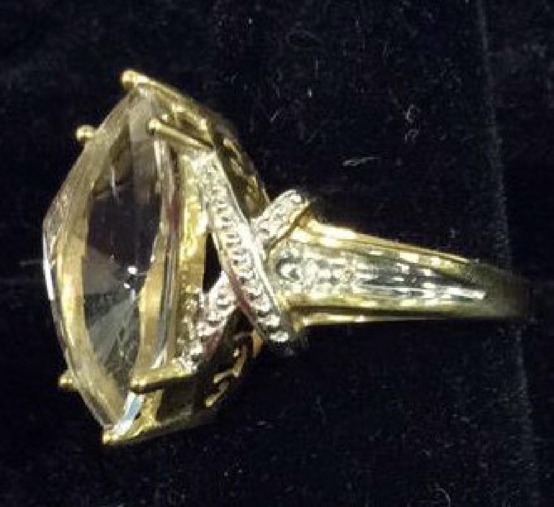10 K Gold White Topaz Ring - 3