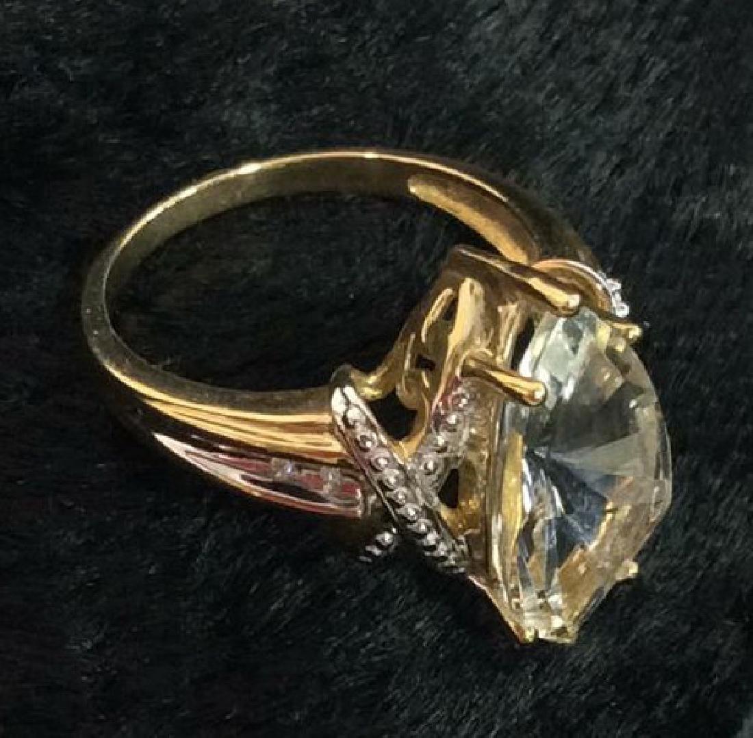 10 K Gold White Topaz Ring - 5