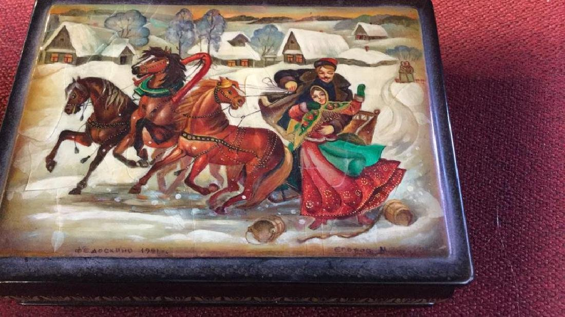 Russian Painted Lacquer Lidded Box, signed dated - 10