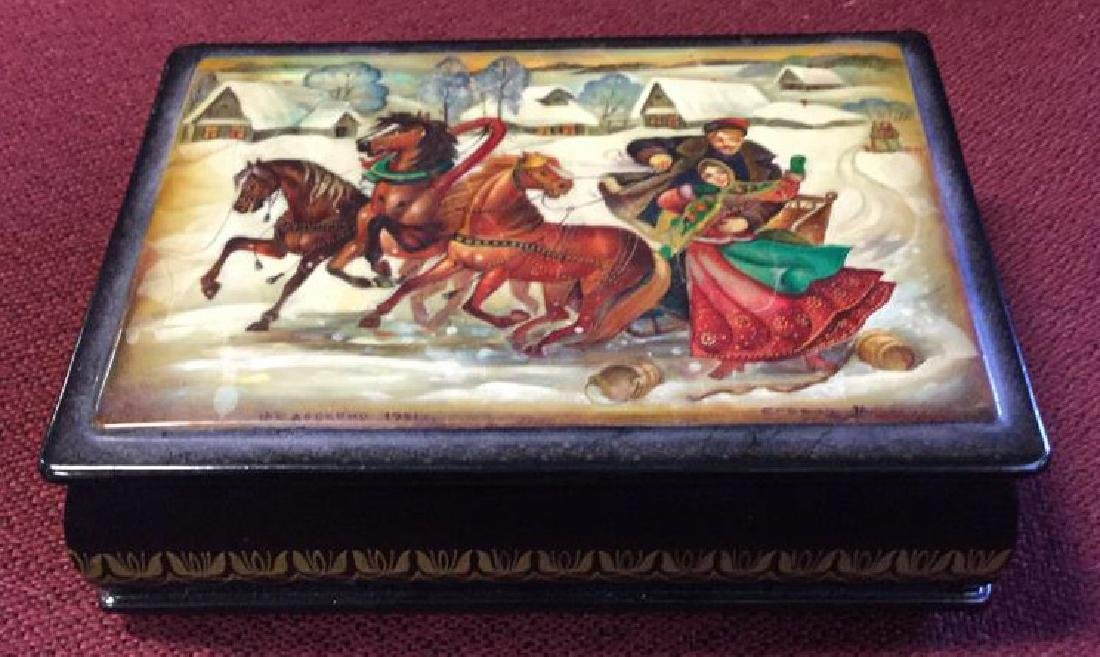 Russian Painted Lacquer Lidded Box, signed dated