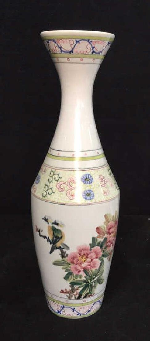 Asian Vase w Painted Birds and Florals