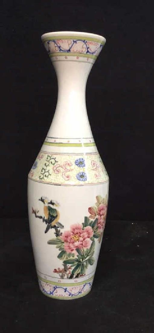 Asian Vase w Painted Birds and Florals - 2