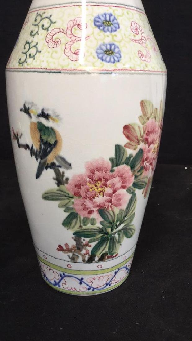 Asian Vase w Painted Birds and Florals - 3