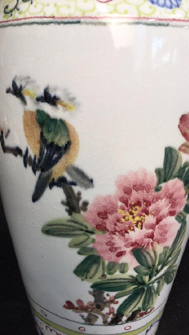 Asian Vase w Painted Birds and Florals - 4